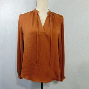H & M Rust Color Popover Top Long Sleeve Shirt  2